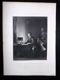 After David Wilkie C1870 Antique Print Duke of Wellington writing his Despatches